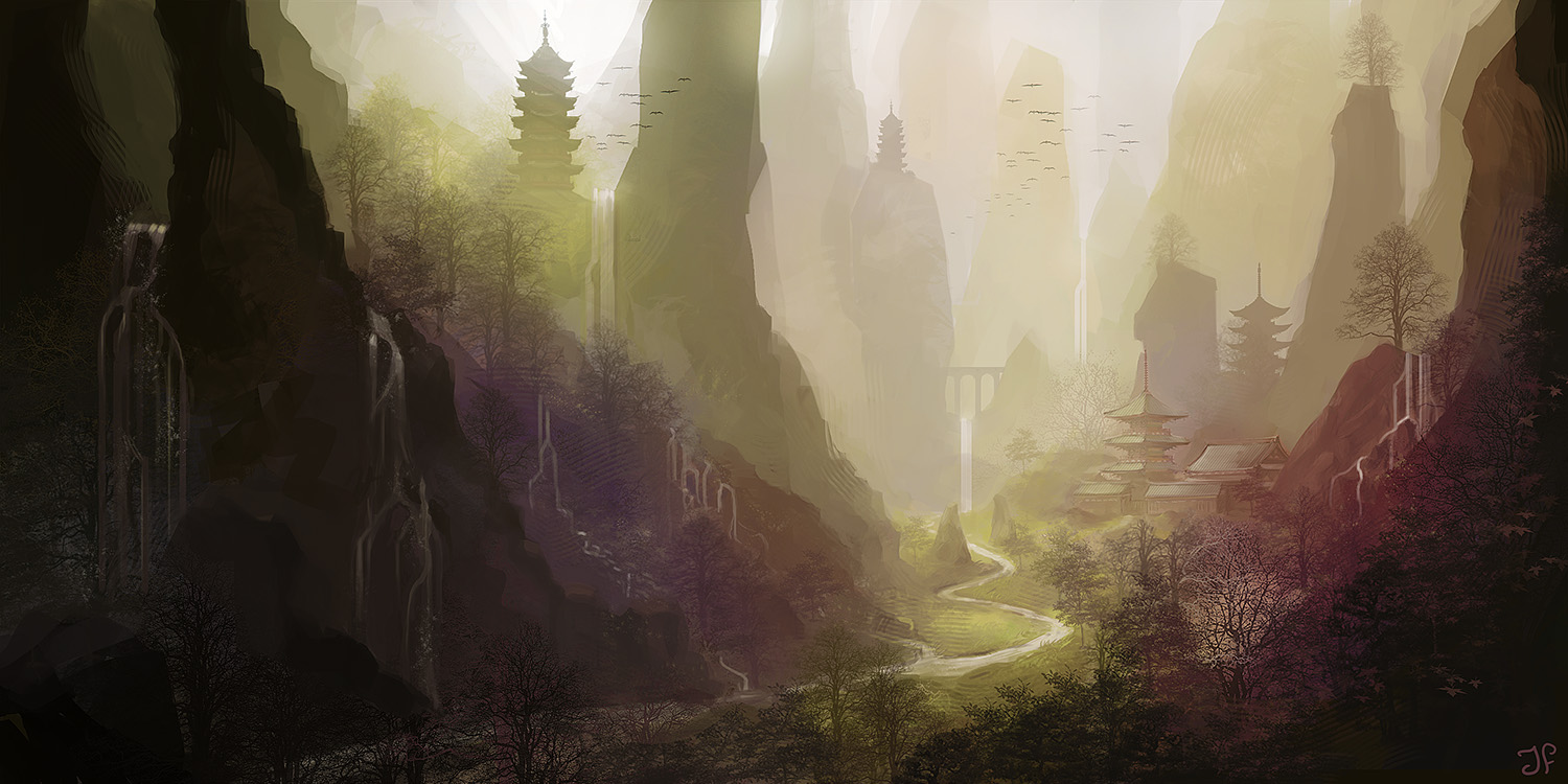 mountains dotted with pagodas and waterfalls