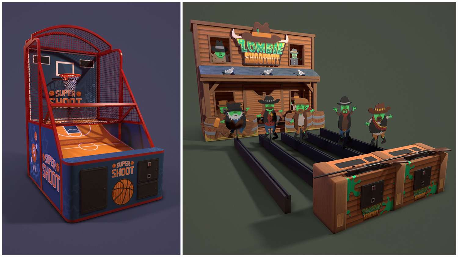 render of basketball and zombie shootout machines
